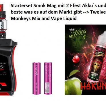 SMOK Mag 225W Kit Prince Tank (Farbe Black Red) + 2x Efest Akku + Twelve Monkey Liquid (das Ultimative Starterset)